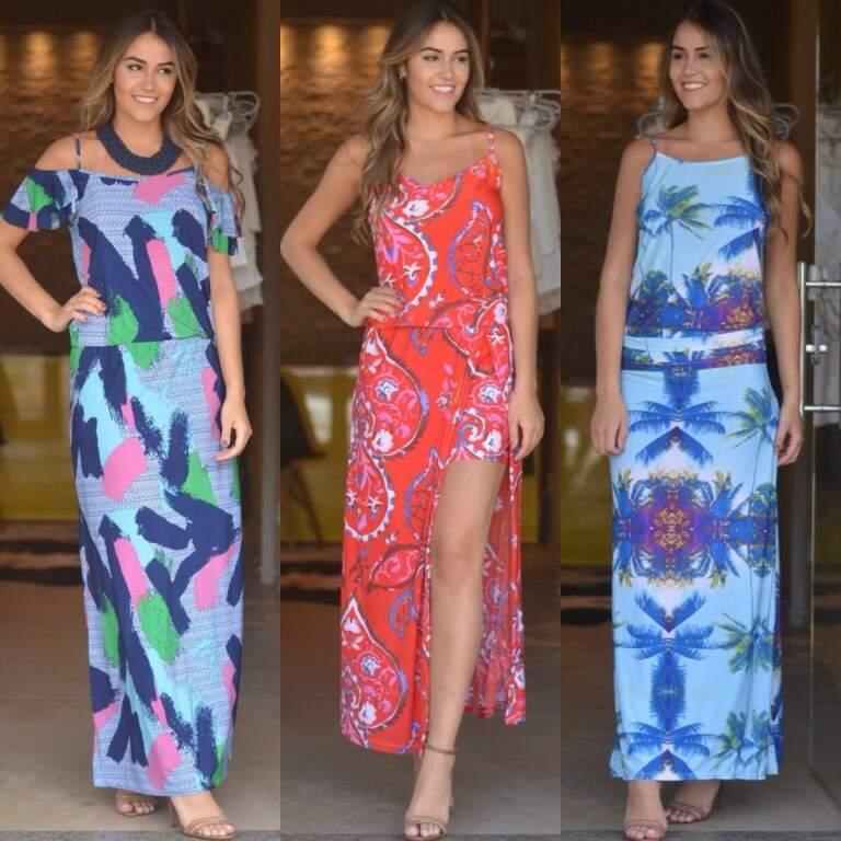 Vestidos longos de Liganete , tendência agora esse tecido para o verão inclusive vestidos de festas 69,90