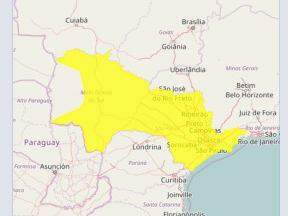 Área do país onde podem ocorrer tempestades (Foto: Reprodução/Inmet)