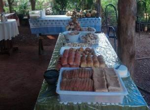 Produtos diversos para coffee break realizado na chácara (Foto: Divulgação)