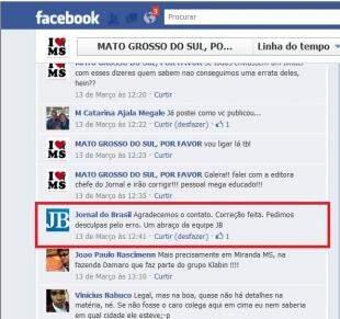 Print do pedido de desculpas feito pelo jornal do Brasil. (Foto: Reprodução/Facebook)