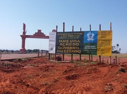 Obra na estrada que dá acesso ao distrito de Vila Quebracho em Anaurilândia (Foto: Governo/Divulgação)