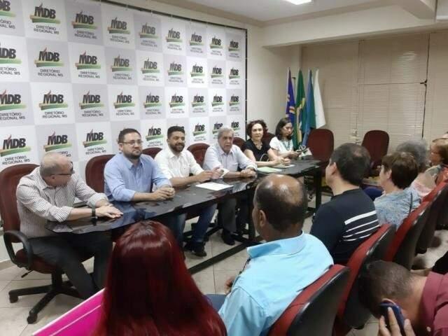 Lideranças do MDB durante reunião na sede do partido (Foto: Arquivo)