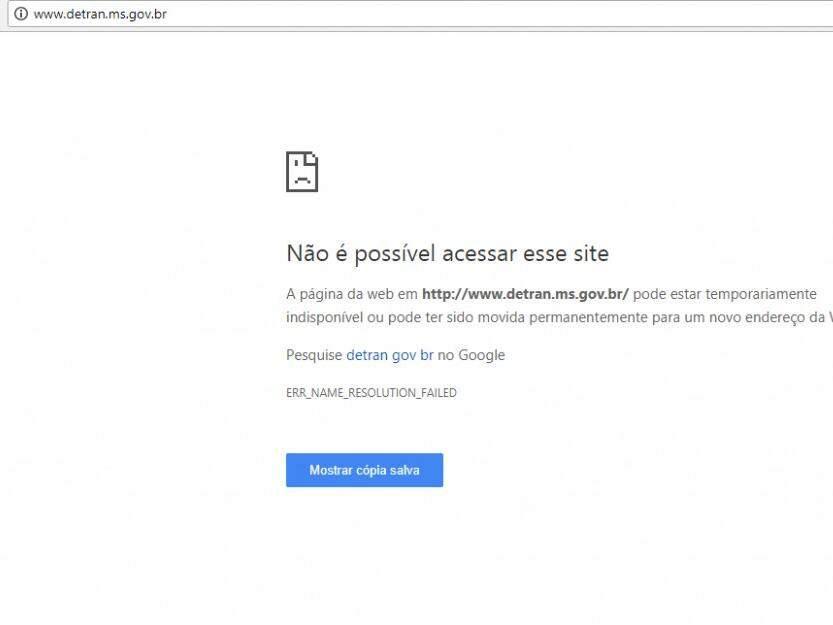 Página que aparece quando tentamos acesso ao site do Detran-MS. (Foto: Reprodução/Internet).