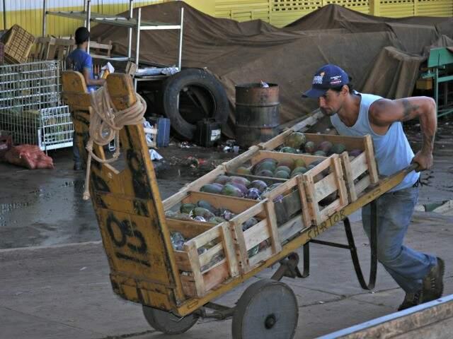 Trabalhador carrega produtos no Ceasa na Capital: movimento teve queda em 2016 (Foto: Marcelo Calazans / arquivo)