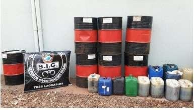 Tambores de óleo furtados da Eldorado são encontrados em depósito
