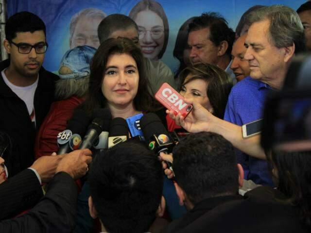 Senadora Simone Tebet na convenção do partido no último dia 4 (Foto: Marina Pacheco/Arquivo)