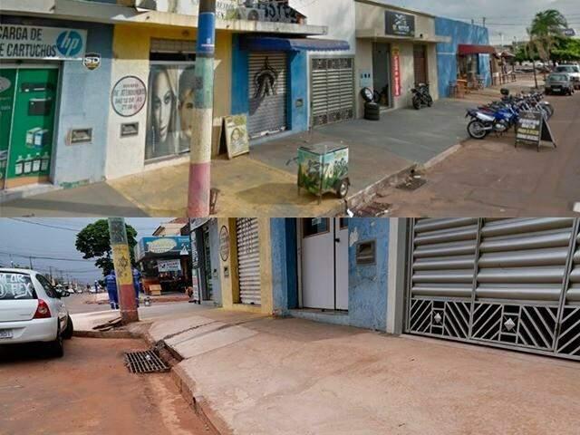 Calçada da Avenida Bandeirantes antes e depois das obras (Foto 1: Reprodução/Foto 2: Kisie Ainoã)