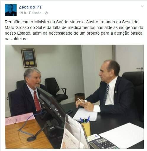 Postagem no Facebook do deputado Zeca do PT em que ele foi recebido ontem pelo ministro da Saúde Marcelo Castro (Imagem: Reprodução/Facebook)
