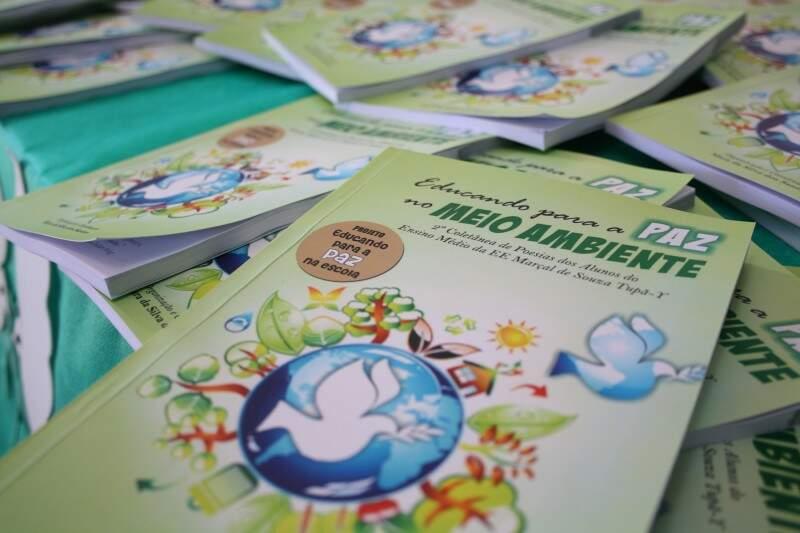 Livros onde contém poesias produzidas pelos alunos. (Foto: Marcos Ermínio)