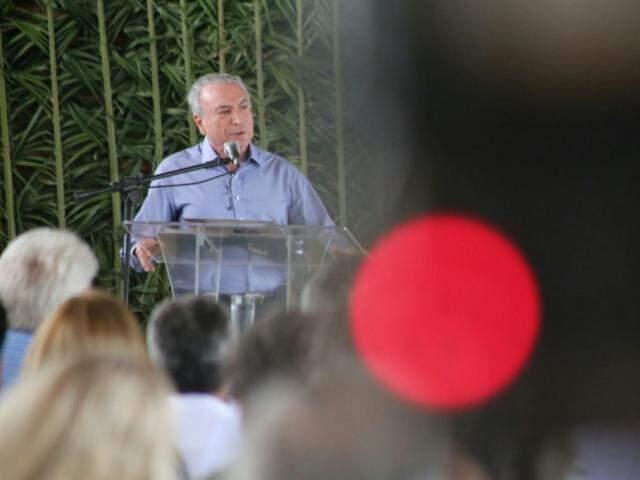 Presidente Temer no sábado, dia 21, quando visitou Miranda. (Foto: Marcos Ermínio/Arquivo).