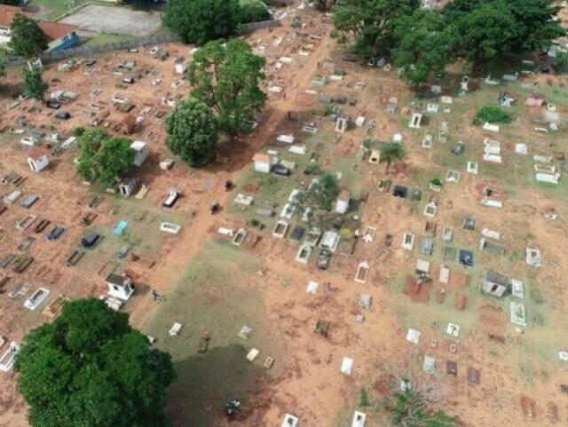 Imagens áreas de cemitério Cruzeiro feitas por drone (Foto: Divulgação Polícia Municipal)