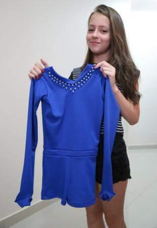 Um dos modelos que Isabela desenhou para as aulas de ginástica artística.