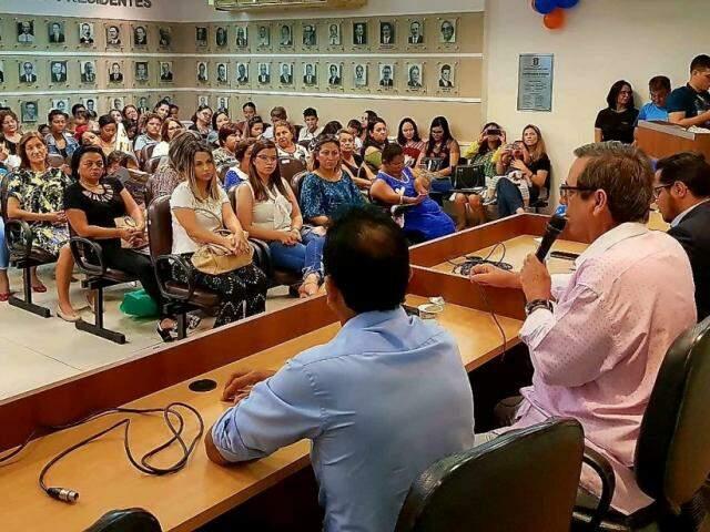 Bosco Martins, dirigente estadual do SD, durante fala em evento na Câmara. (Foto: Maurício Alves/Divulgação)