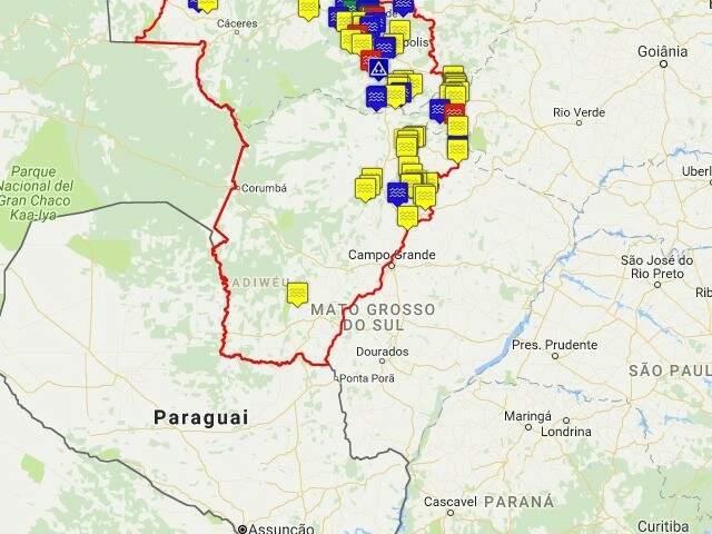 Mapa interativo produzido pela ECOA com localização das PCHs e Hidrelétricas (Foto: reprodução)