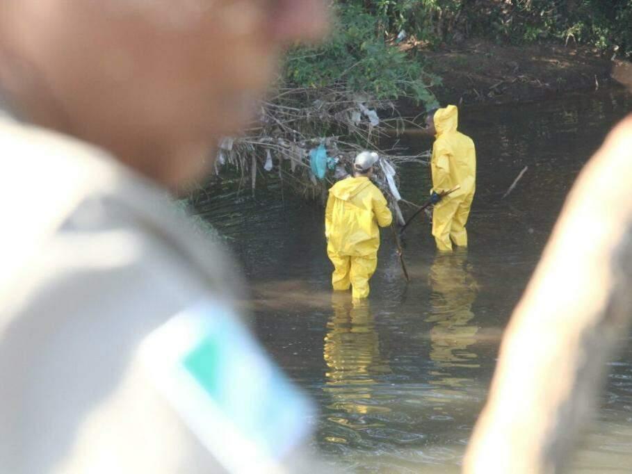 Bombeiros trabalhando para encontrar o corpo do  menino no rio Anhanduí (Foto: Marcos Ermínio)