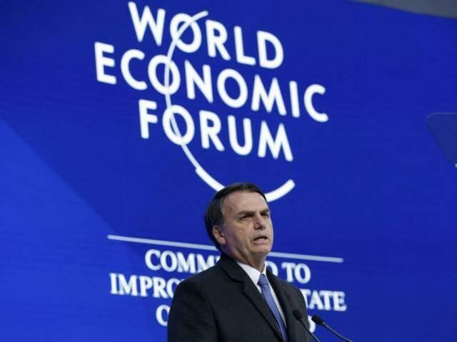 Presidente Jair Bolsonaro, durante discurso de abertura do Fórum Econômico Mundial, em Davos, Suíça. (Foto: Alan Santos/Agência Brasil)