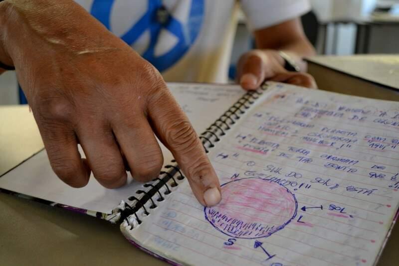 No caderno, Carlos anota alguns trechos dos livros e frases que diz que escuta durante a noite. (Foto: Thailla Torres)