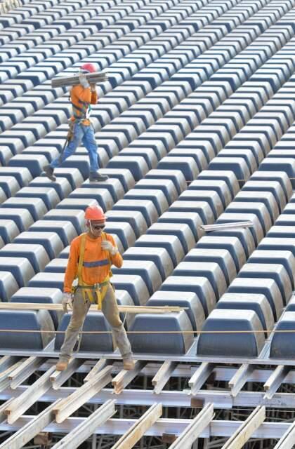 Construção do Aquário do Pantanal emprega 300 funcionários (Foto: Mazão Ramires/divulgação)