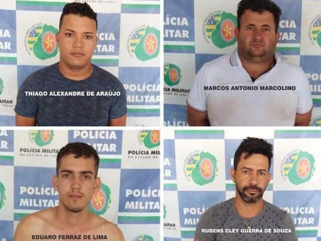 Os quatro suspeitos presos nesta segunda-feira (27) em Goiás. (Foto: Divulgação)