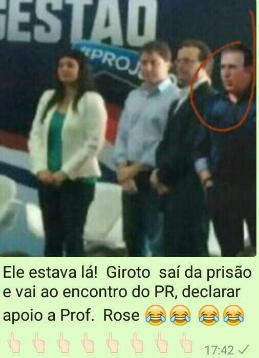Montagem em foto inclui Edson Giroto em evento do PR com a candidata do PSDB à Prefeitura (Foto: Reprodução)