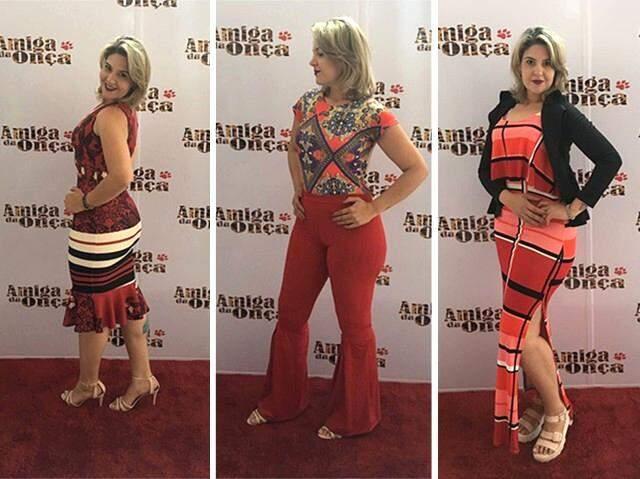 Vestido midi custa R$ 56,00. Body sai por R$ 25,00, calça custa R$ 50,00 e preço do vestido colorido é R$ 35,00.