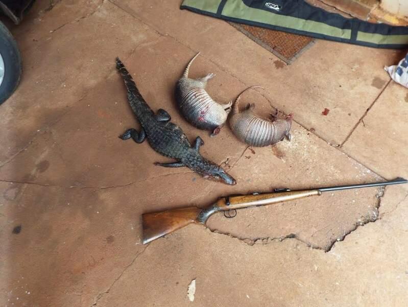 Em Selvíria, três animais foram abatidos e dois caçadores foram autuados ainda na mata, por policiais da Rotai (Ronda Ostensivas e Táticas do Interior) (Foto: Divulgação/PMA)