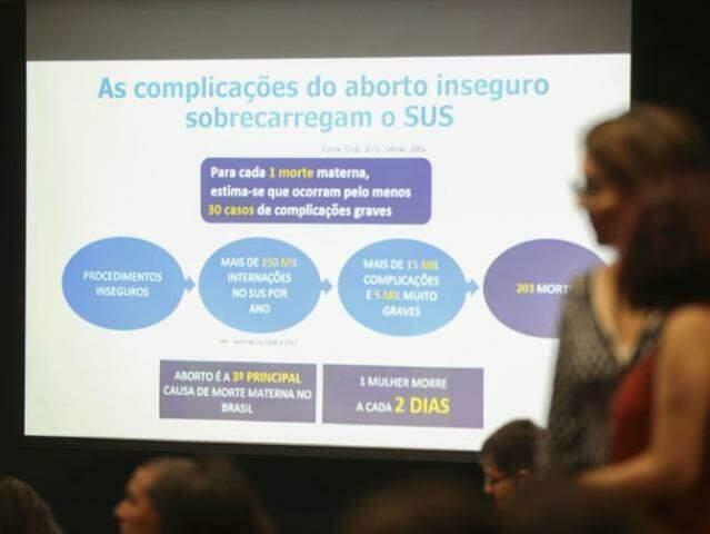 Apresentação feita durante a audiência pública sobre descriminalização do aborto convocada pelo Supremo Tribunal Federal. (Foto: José Cruz/Agência Brasil)