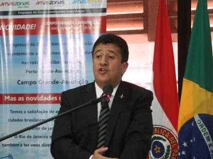 """Voo entre a Capital e Assunção """"abre perspectivas"""" para MS, afirma Reinaldo"""