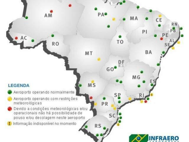 Mapa da situação dos voos atualizado às 6h (horário de Brasília). (Foto: Infraero/Reprodução)