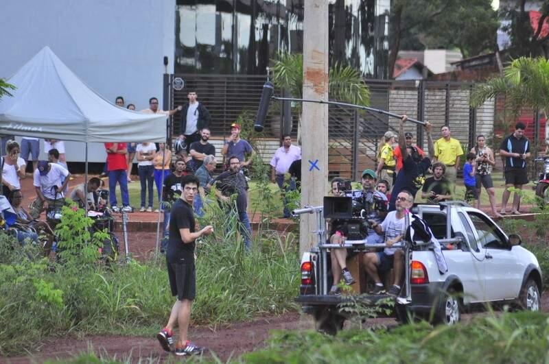 Arredores do Dourados Park Hotel, desativado há vários anos, também são usados durante as gravações (Foto: Eliel Oliveira)