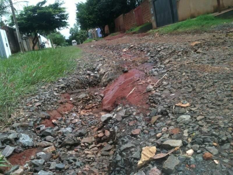 O cascalho da rua foi levado pelas últimas chuvas, e como consequência, surgiram várias valas. (Foto: Carlos Antônio Pires/Repórter News)