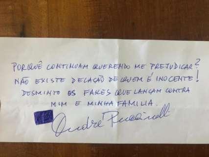 """Em bilhete, Puccinelli nega proposta de delação de mulher e critica """"fakes"""""""