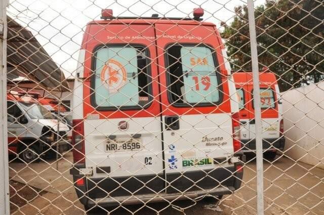 Viaturas estacionadas na unidade do Samu, no bairro Pioneiros (Paulo Francis)