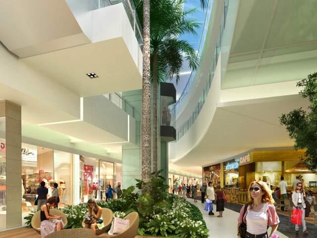 Simulação de como ficou a obra de expansão do Shopping Campo Grande.