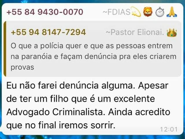 Pastor manda mensagem em grupo dizendo que a PF quer que as pessoas denunciem para a sim ter provas (Foto: Arquivo Pessoal)