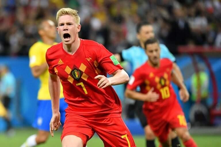 Com o craque De Bruyne, o cara do segundo gol contra o Brasil, a Bélgica tenta hoje passar pela França para disputar o título da Copa do Mundo pela primeira vez (Foto: Emmanuel Dunand/AFP)
