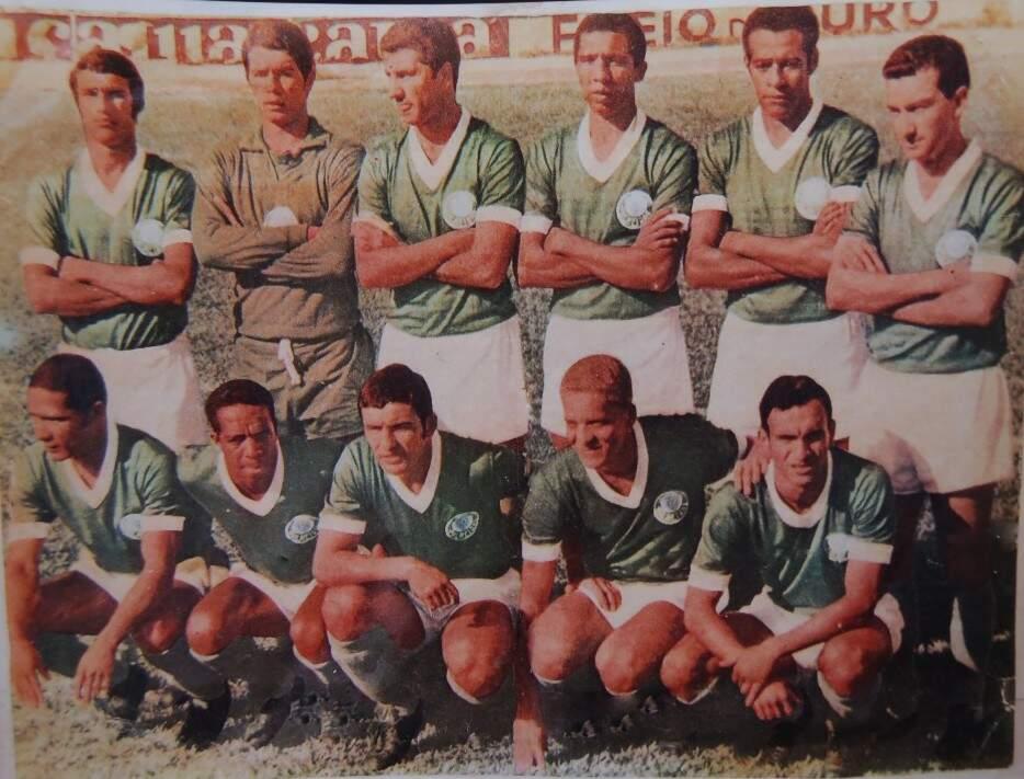O Palmeiras de 1968:  Em pé - Geraldo Scallera, Chicão, Baldochi, Nélson, Ferrari e Dudu; Agachados - Copeu, Servilio, Artime, Ademir da Guia e Serginho (Foto: Álbum do Copeu)