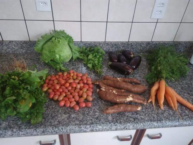 Frutas, verduras e raízes são separadas após as compras (Foto: Arquivo pessoal)