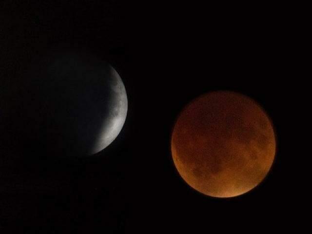 Estágios da lua durante a madrugada de amanhã (Foto: Nasa)