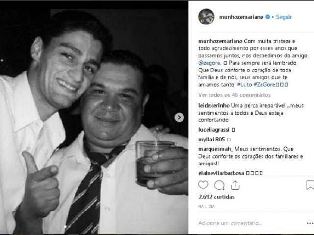 Publicação da dupla em homenagem ao falecimento do amigo. Na foto, Munhoz e Zé Gore. (foto: Reprodução)