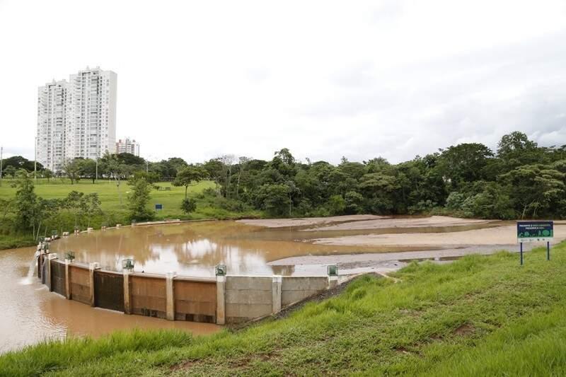 Lago  de contenção sofre com assoreamento em parque. (Foto: Gelson Walber/Arquivo)
