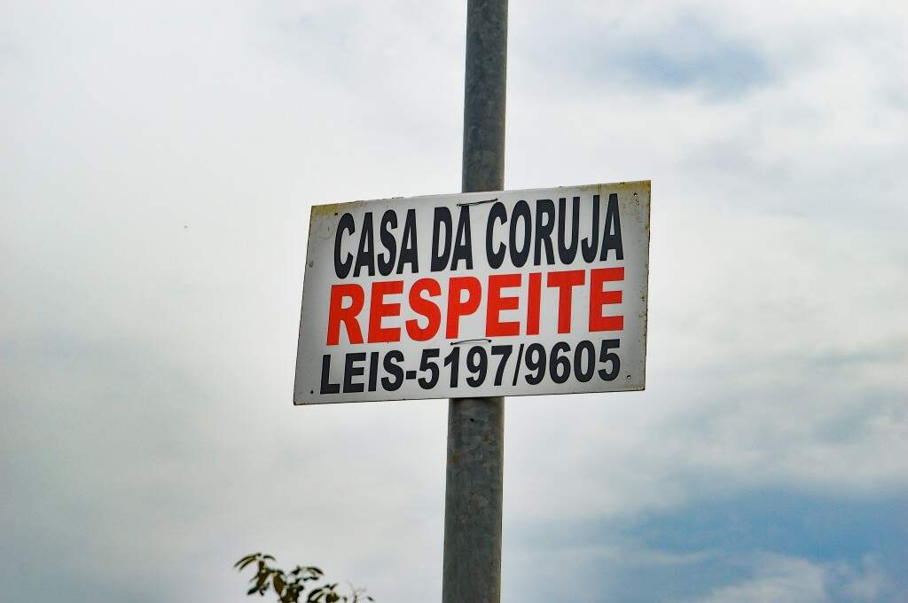 Placa colocada no poste por Josi (Foto: Alana Portela)