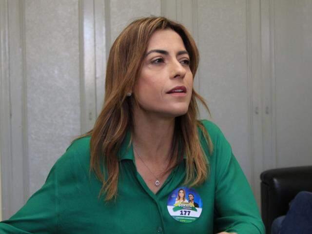 Candidata ao Senado, Soraya Thronicke (PSL), durante entrevista (Foto: Marina Pacheco)