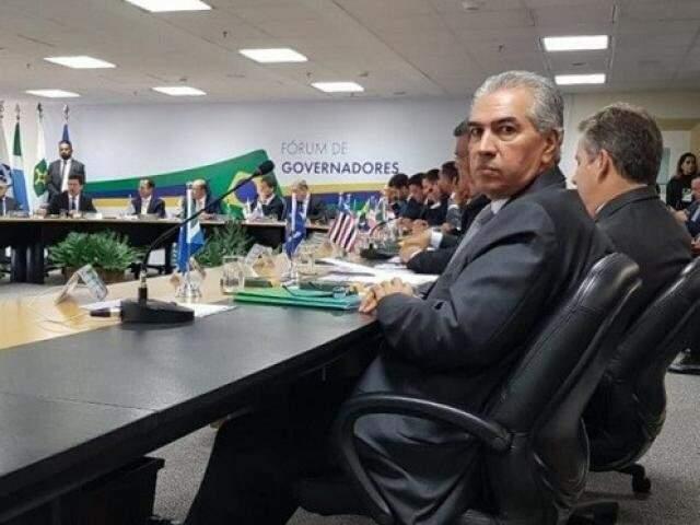 Reinaldo Azambuja (PSDB) durante Fórum de Governadores no dia 12 de dezembro em Brasília, quando entregou propostas para Sérgio Moro (Foto: Clodoaldo Silva/Arquivo)