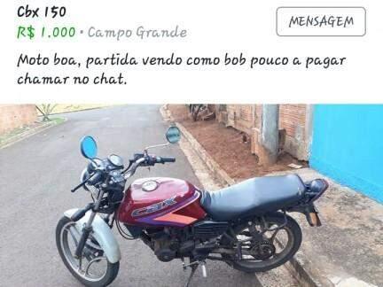 """A moto foi anunciada em um grupo no Facebook chamado """"Só Bobs (carro e motos)"""", apelido dado a veículos com problemas na documentação. (Foto: Divulgação)"""