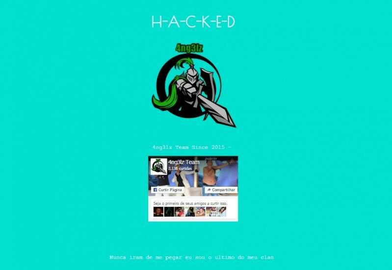 Mensagem que aparecia nos sites invadidos. (Foto: Reprodução)