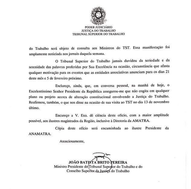 Ofício enviado para TRT 10ª região.