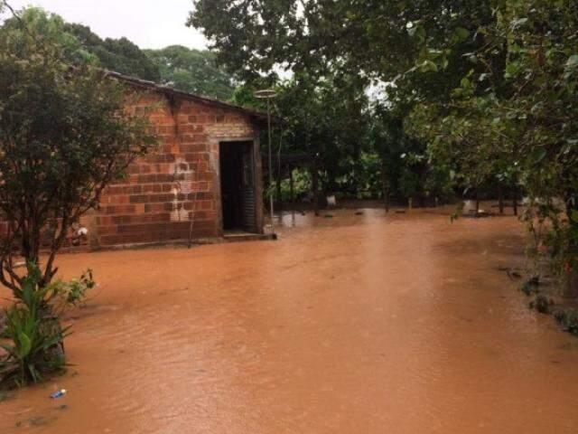 Casa alagada pelo município de Aquidauna. Na cidade, 40 famílias foram desabrigadas. (Foto: Direto das Ruas)