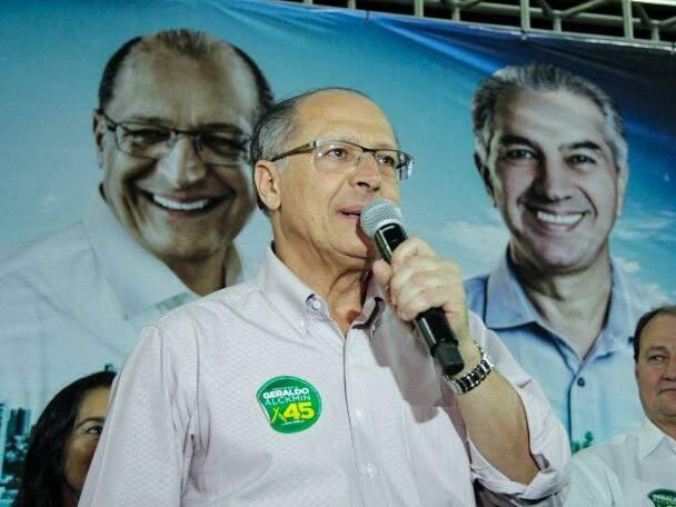 Geraldo Alckmin, do PSDB, em discurso durante evento em Campo Grande. (Foto: Kísie Ainoã/Arquivo).