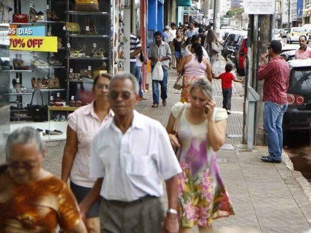 Centro comercial de Campo Grande. (Foto: Arquivo)